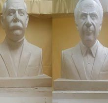 رونمایی سردیس «اکبر رادی» و «ناصر مسعودی» در سبزه میدان رشت