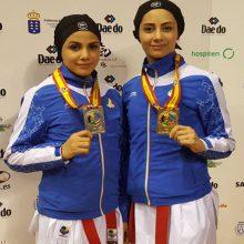 آویشن باقری و سارا بهمنیار دختران افتخار آفرین کاراته گیلان در رقابت های قهرمانی امیدهای جهان در اسپانیا، که موفق به کسب مدال های خوش رنگ طلا و نقره شدند