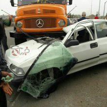 تصادف کامیون با پراید در کمربندی کلاچای بعد از پمپ بنزین هم اکنون